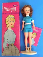 Vintage TAMMY DOLL REDHEAD w/Box, Stand, Booklet, Blue Playsuit & White Sneakers