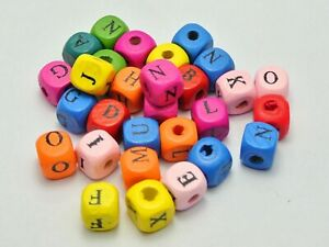 100 Mixed Bright Candy Color 10mm Cube Wood Alphabet Letter Beads