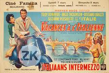 VACANCES A L'ITALIENNE Rome VESPA Scooter Intermezzo PLESHETTE Affiche 1962