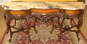 Inlaid French Louis XV Style Marble Top Server Buffet Sideboard Circa 1920