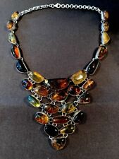 TAXCO MEXICO 925 % STERLING SILVER AMBER UNIQUE NECKLACE
