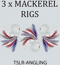 3 x PACKS OF MACKEREL FEATHERS RIGS - THREE SIZE 2/0 HOOKS - SEA FISHING TACKLE