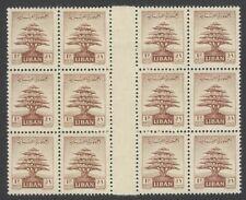 Lebanon #248 1951 1p Cedar Tree OFFSET image on gum side gutter block of 12 MNH