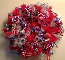 Patriotic Memorial Day Fourth Of July Red White & Blue Deco Mesh Wreath