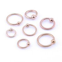 Rose Gold BCR Ring Ball Closure Captive Ring Lip Nose Ear Tragus Septum Hoop