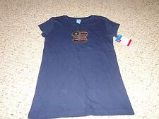 NEW GIRLS NAVY PATRIOTIC RED WHITE & BLUE SEQUIN BUTTERFLY SHIRT-  L LARGE 10/12