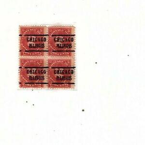 usd stamp Overprint line gap Precancel revenue block of 4 Chicago Illinois (mb11