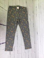 Jumping Beans Girls Sz 5 Gray Gold Metallic Butterfly Full Length Leggings Pants