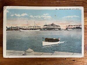 Swing Bridge, Bay City, Michigan - Vintage Postcard