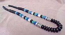 "Navajo Sterling Silver & Black Onyx 26"" Necklace by Tommy & Rosita Singer JN0247"