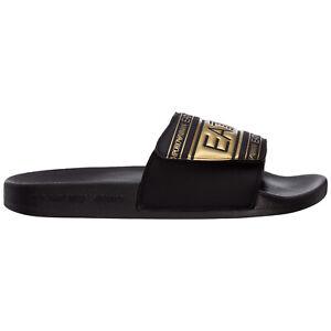 Emporio Armani EA7 slides men XCP005XK192M700 Black logo detail shoes slip on