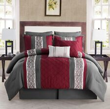 8-Piece Comforter Bed in a Bag Set Embroidered Bedding King Size New Red Gray