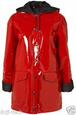 Topshop Rot glänzend Plastik PVC Regen Regenmantel 60s Jahre MOD VTG
