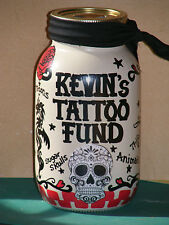 """MY TATTOO MONEY"" JAR - BANK/ HANDPAINTED/PERSONALIZED w/slotted lid"