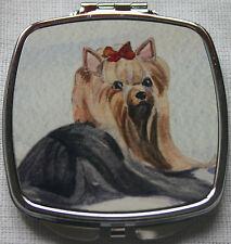 YORKSHIRE TERRIER YORKIE DOG COMPACT MIRROR SANDRA COEN ARTIST WATERCOLOUR PRINT