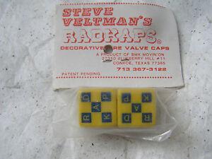 RADKAPS VALVE CAPS NOS 80S WHEEL BMX CRUISER FREESTYLE  YELLOW BLUE CHECKERD
