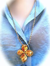 "GENUINE FOUR-LEAF CLOVER DIPPED IN 24K GOLD WITH 16""-18"" 14K GP CHAIN"