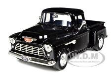 1955 CHEVY 5100 STEPSIDE PICKUP BLACK 1/24 DIECAST MODEL CAR BY MOTORMAX 73236