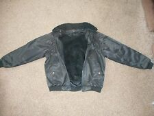 Mens Black Genuine Leather Pilots Jacket with Fur Lining and Collar