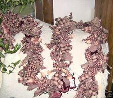 3 foot hand tied burgundy and tan hand tied rag garland