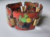 Vintage Copper Enamel Modernist Panel Bracelet Orange Raised Multicolor Splatter