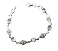 excellent Blue Topaz 925 Solid Sterling Silver Blue Bracelet gemstones US gift