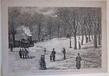 1881 MILANO FERROVIA SPECIALE ESPOSIZIONE xilografia Illustrazio. Italiana treni