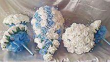 WEDDING BOUQUET SET 1 X TEARDROP 4 X BRIDESMAIDS & 10 X BUTTONHOLES BABY BLUE