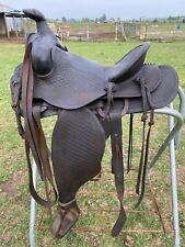 """Antique/vintage N.Porter Phoenix 13"""" basket tooled Western cowboy saddle Vgc"""