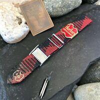 rare Perlon 16mm Red & Black Tartan 1-Piece Military nos Vintage Watch Band
