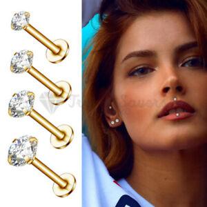 2x Labret Cartilage Helix Tragus Ear Stud Bar 2-5MM Gold Filled Fashion Piercing