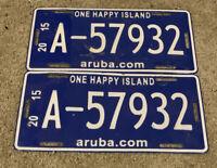 "2015 Aruba License Plate Pair ""One Happy Island"" #A-57932"