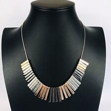 Mixed Metal Fringe Bib Collar Statement Necklace Costume Jewellery Boho Tri Tone