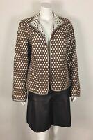 Nina Mclemore Women's Jacket Polka Dot Open Front 100% Cotton Reversible Sz 12