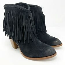 Frye Boots 8 Womens Black Suede Ilana Fringe Booties Pointed Toe