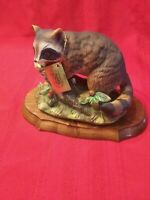 Vintage MASTERPIECE BY HOMCO RACCOON ON A LOG PORCELAIN FIGURINE base and tag.