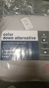 COLOR DOWN - Microfiber Down Alternative Comforter-FULL QUEEN GRAY 40 OZ