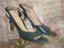 Vintage DeLiso Sandals Shoes 1950-1960s High Heel Stiletto-Slingback-Lizzar d-8.5