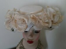 50s Vintage Hat Ivory Plate Hat with Ivory Silk Roses, Goodwood. Wedding