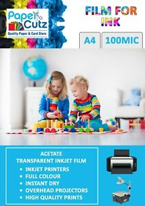 A4 OHP INKJET Colour Printer Clear Film, Acetate, Overhead Projector - 10 Sheets