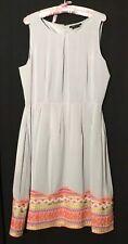BCBG MAXAZRIA Evening Dress Powder Blue/gray Orange Yellow Embroidery Orig. $398