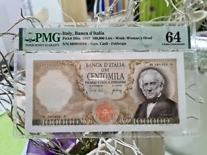 100000 LIRE MANZONI M 080409 B  1967  BANKNOTES ITALY  PMG