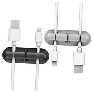 2 Pack Cable Clips -  Cord Organizer, Cable Management, 6mm Wire Black and Gray