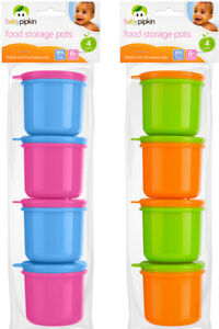 BABY FOOD STORAGE POTS WITH LIDS X8 Plastic Toddler Kids Feeding Travel 6 Month+
