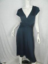Jigsaw Dress Blue Knit Ruching Waist Slimming A-Line  Size Medium