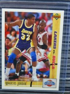 1991-92 Upper Deck Magic Johnson vs Michael Jordan #34 Bulls E450