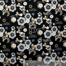 BonEful Fabric Cotton Quilt Black White Gold Flower Country Shabby Chic 99 SCRAP