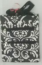 Black White Damask Bag Crossbody Purse Cruise Beach Summer Travel 10x8""