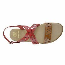Size 11 (EU 43 /UK 9) Red & Brown Crossover Laser Cut Flat Sandals Made in Spain