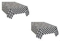 2pk Plastic Black & White Checkered CARS Theme Racing Nascar Table Cover